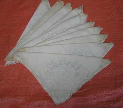 Set of  10  Vintage   Tea NAPKINS Linens  Embroidered FANCY  with LACE