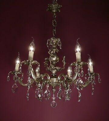 Beautiful Small Silver Nickel Finish Chandelier Crystal Glass Old Ceiling Lamp