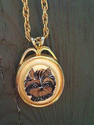 Hand Painted Yorkie Yorkshire Terrier  Pendant Necklace gold tone ooak