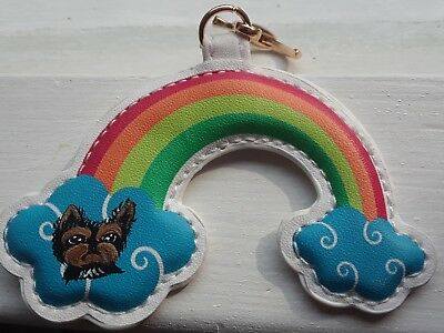 HAND PAINTED ART~YORKIE Yorkshire terrier GIFT dog art purse charm key ring
