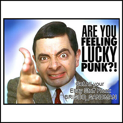 "Fridge Fun Refrigerator Magnet MR. BEAN -""ARE YOU FEELING LUCKY PUNK?!"" Funny"