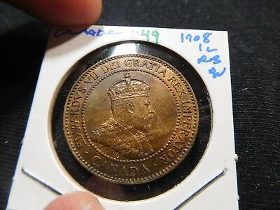 V49 Canada 1908 Large Cent BU Red Brown