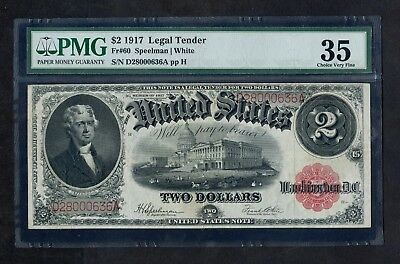 Fr#60 1917 Legal Tender $2 Two Dollars Large Size Note PMG 35 Choice Very Fine
