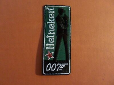 HEINEKEN BEER-007 green & silver&BLACK Embroidered 1-3/4 x 3-1/2 Iron On  Patch