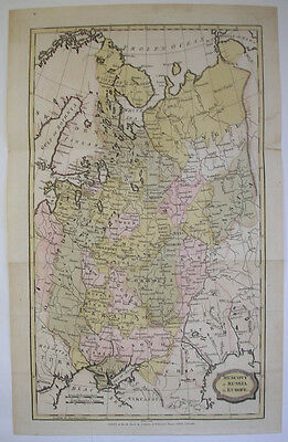 1806 Antique Map Muscovy Or Russia In Europe Original  Hand Coloured Engraved