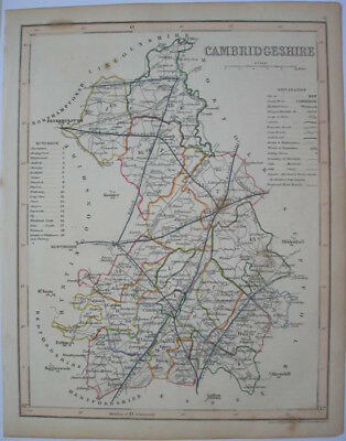 1840s ENGLISH COUNTY MAP BY J ARCHER CAMBRIDGESHIRE