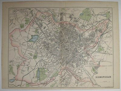 c1870 MAP STREET PLAN OF BIRMINGHAM  ORDNANCE & ACTUAL SURVEYS