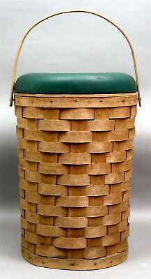 """Vintage """"Cool Stool"""" Peterboro NH Wooden Basket Insulated Cooler MOOSEHEAD LAGER"""