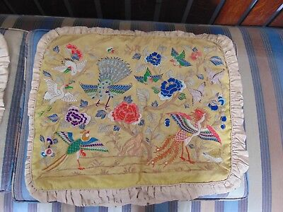 Pair Of Antique Chinese Silk Embroidered Pillow Covers