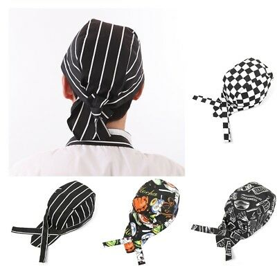 4 Types /Pack Chef Tie Back Cap Unisex Chef Cap for Chefs Cooks or Bakers