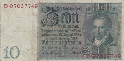 1929 Germany 10 Reichsmark Note, Pick 180a
