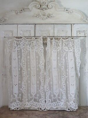 Antique french CURTAINS 1890 Cornely BRODERIE Victorian VORHANG ANTIK Shabby Nr1