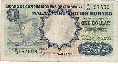 1959 Malaya and British Borneo $1 Note, Pick 8A