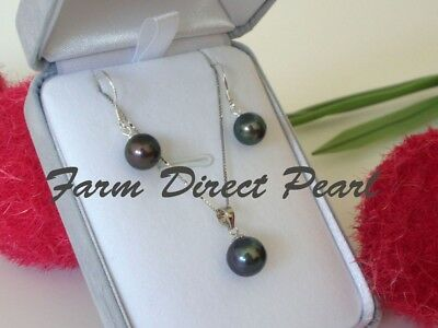 Genuine Black Drop Pearl Pendant Necklace Earring SET Silver Cultured Freshwater