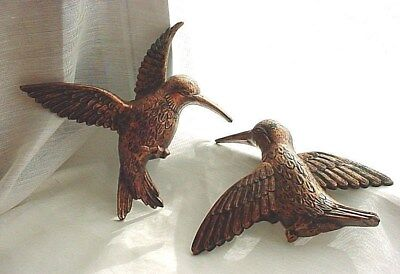 Dart Hummingbird Wall Plaques Copper Colored Hard Plastic 6 inch Lot of 2 1970s