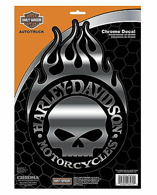 * Xl * Harley Davidson Motorcycle Willie G Skull Chrome Decal - Made In The Usa