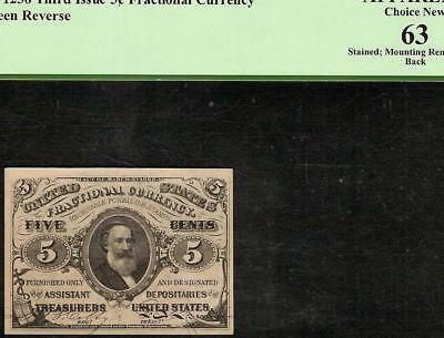 Unc 5 Cent Fractional Currency 1864 1869 Spencer Clark Note Money F 1238 Pcgs 63