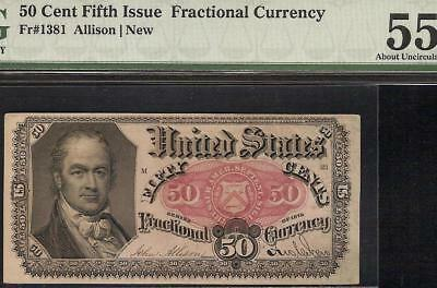 50 CENT FRACTIONAL CURRENCY SERIES 1875 CRAWFORD NOTE PAPER MONEY Fr 1381 PMG 55