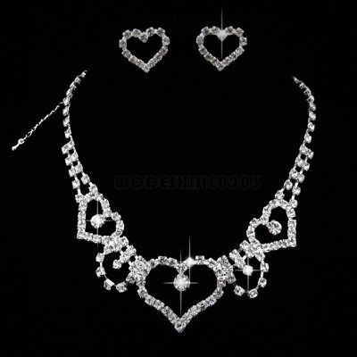 Heart shape Wedding  Party  Crystal Necklace Earring  gold  plated  Jewelry N184