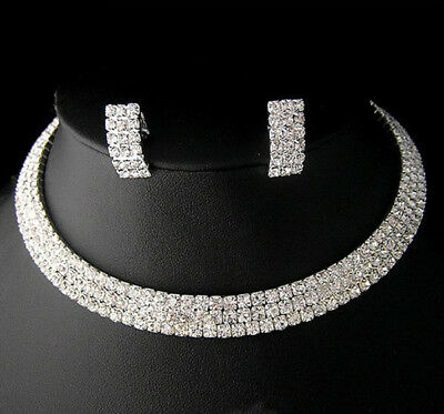 Wedding Prom Party Bridal Crystal Choker Necklace Earring GP Silver Jewelry /131