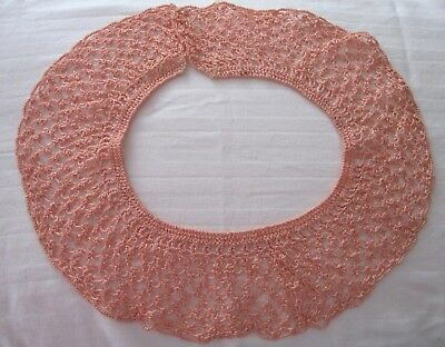 Vintage Pink Hand Made Crochet/hair Pin Lace Collar