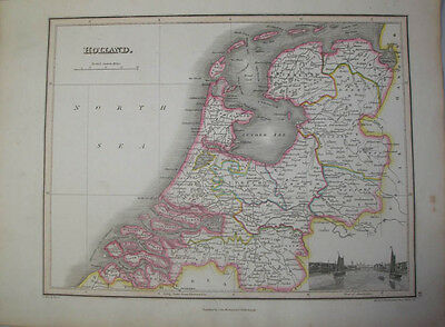 1819 Map Of Holland By James Wyld & Engraved By Hewitt   Original Hand Coloured