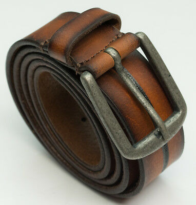 DuK Genuine 100% real leather belt vintage look quality mens jeans belts brown
