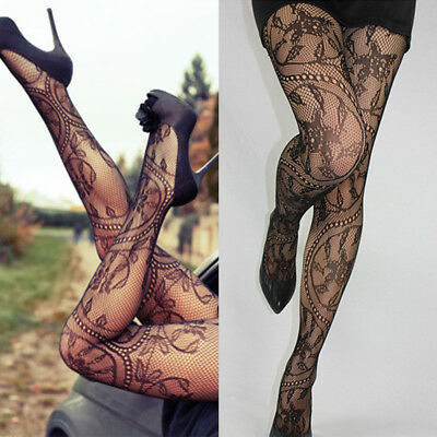 Women's Black Lace Floral Fishnet Hollow Fish Net Pantyhose Tights Stockings AU