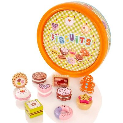 Childrens Wooden Biscuit Cakes Box Tin Pretend Play-Food Playset Kids Wood Toy