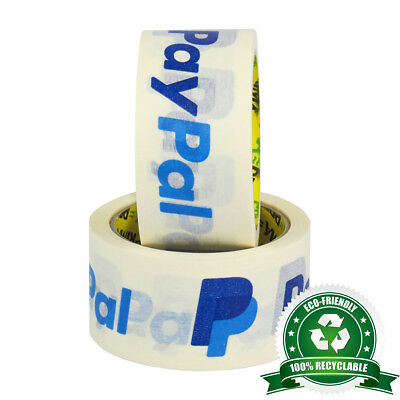 """18 Rolls Of 100% Recyclable 2"""" (50mm) PayPal White Kraft Paper Eco Packing Tape"""