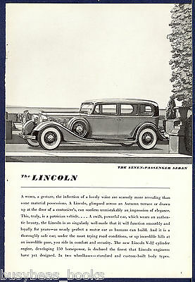 1934 LINCOLN advertisement, Lincoln seven-passenger sedan, vintage automobile