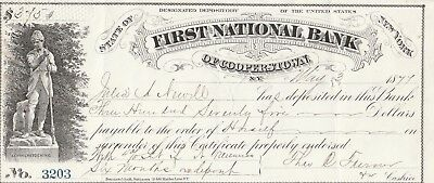 1877 Certificate Of Deposit, Cooperstown, New York    Vignette Leather Stockings