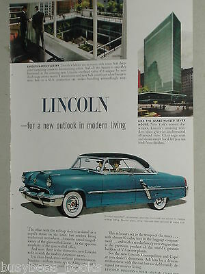 1952 Lincoln advertisement page, Lincoln Cosmopolitan, Lever House NY