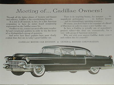 1955 CADILLAC advertisement Cadillac Sixty Special Series, businessmen boardroom