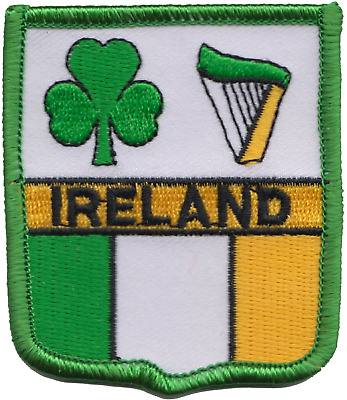 Ireland Shamrock and Harp Flag Embroidered Patch