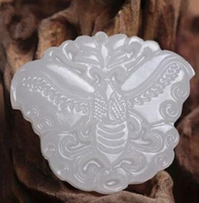 2018 Chinese Carved White butterfly Jade  Pendant Necklace Jewellery