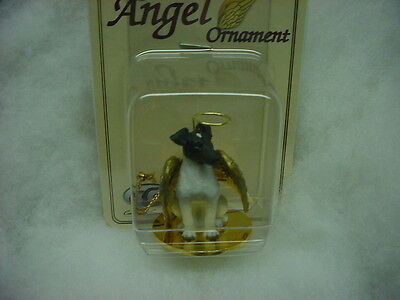 FOX TERRIER black white dog ANGEL Ornament resin HAND PAINTED FIGURINE Christmas