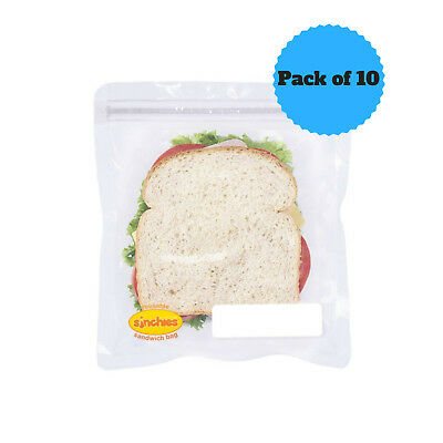 NEW Sinchies Sandwich Bags Reusable Lunch Pouches BPA Free Pack of 10 New Design