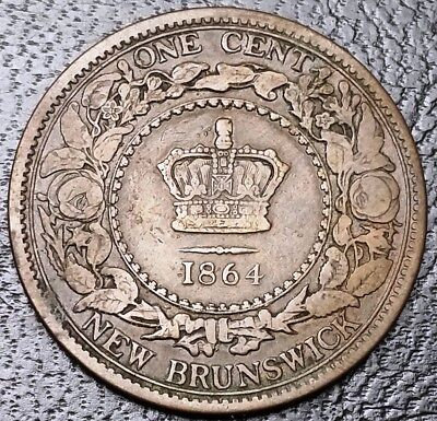 1864 New Brunswick One Cent Coin - Great Condition