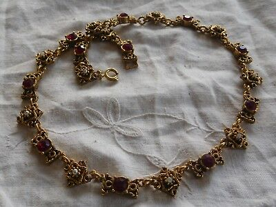 Stunning Vintage 1960s Red Crystal Seed Pearl Necklace