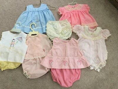 Lot of 6 Vintage baby girl outfits sz. 3-6 mo