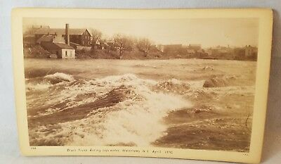 1892 Cabinet Card Photo Black River, Watertown NY During High Water NO Reserve