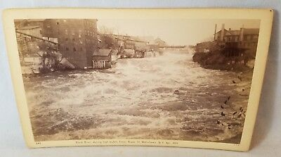 1892 Cabinet Card Photo Black River, Watertown NY From River Street NO Reserve