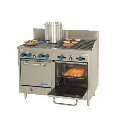 "Comstock Castle 48"" Commercial 4 Burner Range, 24"" Radiant Broiler, 2 Ovens"