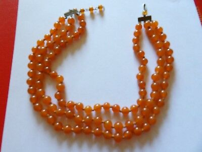 Vintage imitation carnelian glass three strand hand knotted necklace MB37