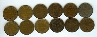Canada 1886-1920 Large Cents  Nice Group Of 12 Coins  W/ Better Dates And Grades