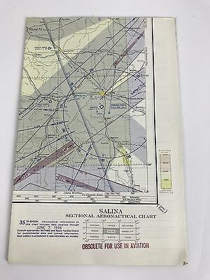 Vintage 1956 Salina Sectional Aeronautical Aviation Chart  Map, 35th Edition
