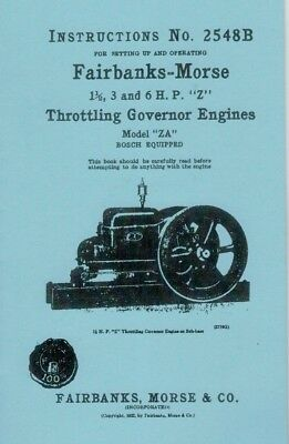Fairbanks Morse Model ZA 1 1/2 3 6 HP Z Throttle Instruction Book Manual 2548B