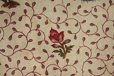 Antique Indienne fabric c 1750-1760 printed material small old pillow slip