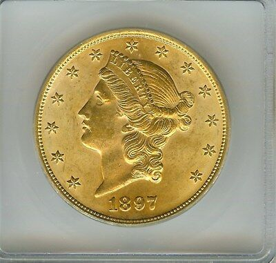 1897 Liberty Head $20 Gold Double Eagle  Icg Ms64+  Scarce This Nice!